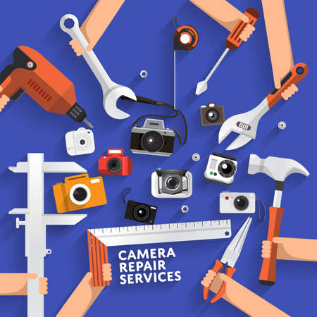 maintenance work: Flat desginconcept rapair camera services. Vector illustrate