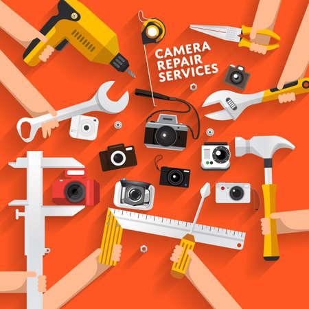 illustrate: Flat desginconcept rapair camera services. Vector illustrate