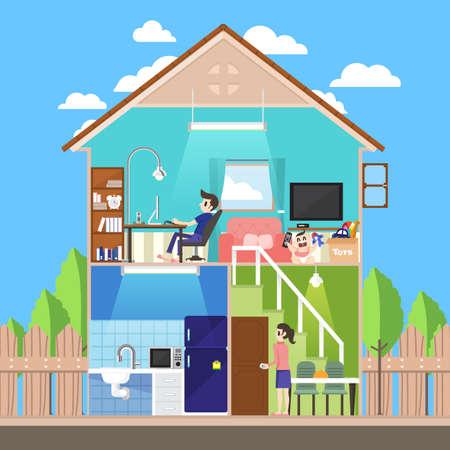 convivencia familiar: Diseño para el hogar rebanada plana al estilo de vida familiar. Vector ilustrar.