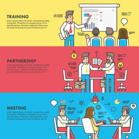 ejecutivo en oficina: Concepto de diseño plano asociación capacitación y reunión de negocios.