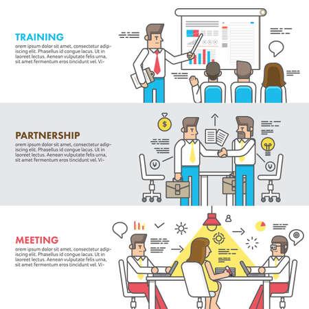 enseñanza: Concepto de diseño plano asociación capacitación y reunión de negocios.