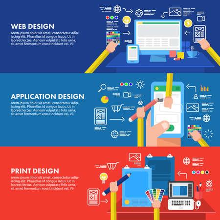 concept Flat application site de conception et d'impression. Vecteurs