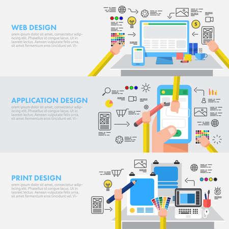 フラットなデザイン コンセプト デザインのアプリケーションと印刷ウェブサイト。