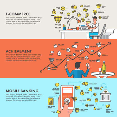 mobile banking: Flat design concept e-commerce , Mobile banking and achievement business.