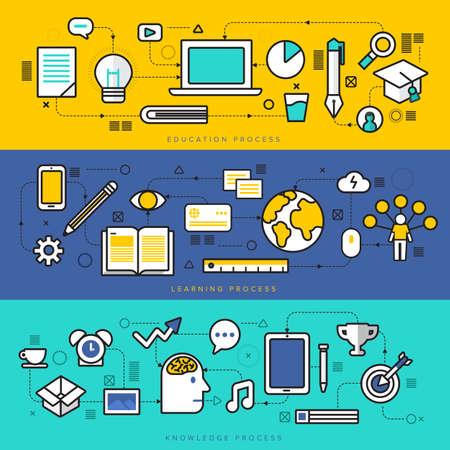 conocimiento: Línea fina diseño plano del poder del conocimiento, STEM proceso de aprendizaje, la educación propia en la ciencia aplicada, la tecnología informática para el estudio.