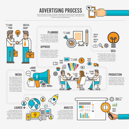 Flat design concept advertising process infographic style. Vector illustrate.  イラスト・ベクター素材