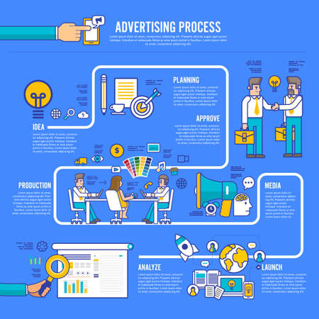 Flat design concept advertising process infographic style. Vector illustrate. Çizim