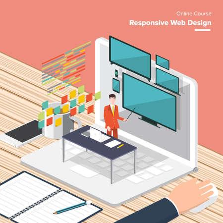 Conception graphique et Web, site web développement, la programmation, l'art numérique, codage. Freelance occupation. Design plat concept de vecteur