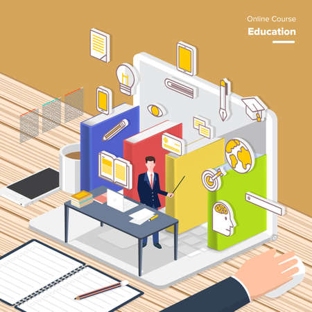 e learn: Vector e-learning concept in flat style - digital content and online Education  Teaching. electronic learning process, awards winning and knowledge elements. Illustration
