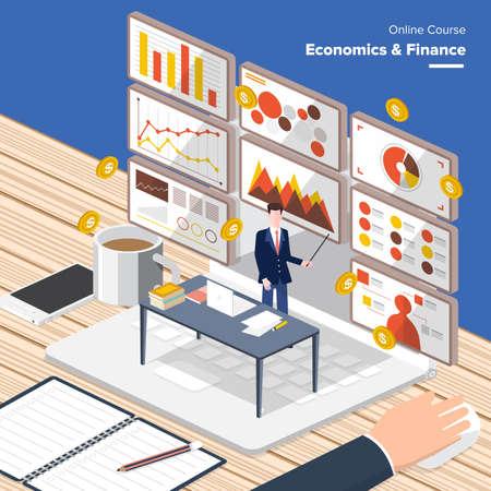 communicatie: Vector e-learning concept in vlakke stijl - digitale content economie finance.electronic leerproces, prijzen winnen en kennis elementen.