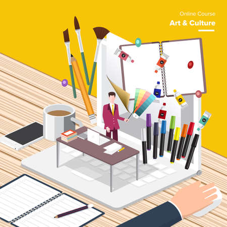 art and craft: Vector e-learning concept Art  Culture  in flat style  digital content and online art  culture Illustration