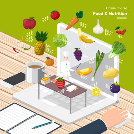 learning process: Vector e-learning concept in flat style - digital Food  Nutrition.electronic learning process, awards winning and knowledge elements.