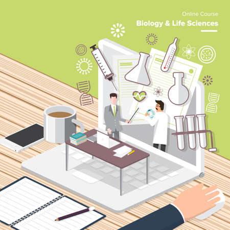 sciences: Vector e-learning concept in  flat style - digital content and online biology  sciences Illustration