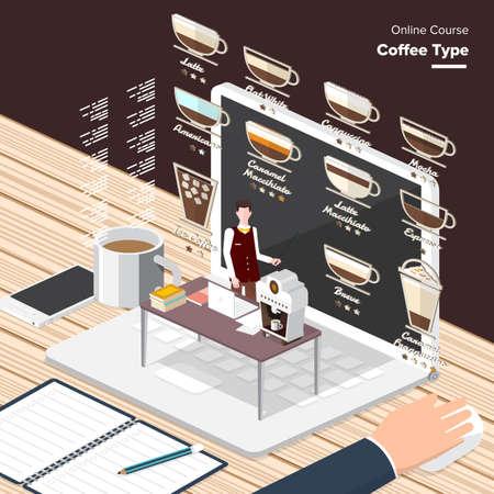 chicchi di caff?: contenuti digitali caffè processo di apprendimento type.electronic, vincendo premi e elementi di conoscenza - concetto di stile piatto Vector e-learning.