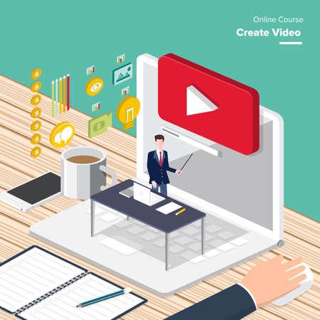 Wektor e-learning koncepcja tworzenia wideo w mieszkaniu stylu treści cyfrowych oraz seminarium on-line, jak zarabiać pieniądze z wideo. Ilustracje wektorowe