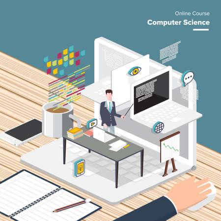 contenido digital y proceso de aprendizaje sciences.electronic ordenador en línea, ganar premios y elementos de conocimiento - concepto de estilo plano vectorial de e-learning.