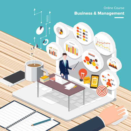 Vector e-learning concept in flat style - digital content and online business  management