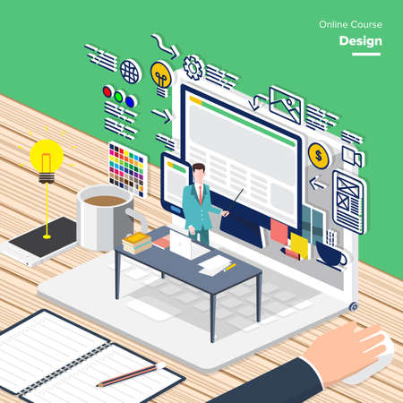 Vector e-learning concept in flat style - digital content graphic design.electronic learning process, awards winning and knowledge elements.