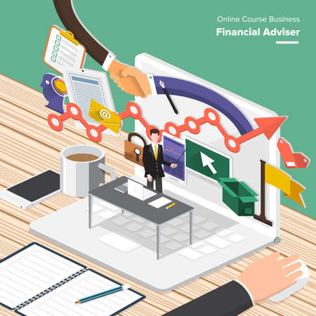 financial adviser: Isometric Flat design concepts for Global Economy, Financial Adviser, Resource Management. Concepts for web banners and promotional materials. Stock Photo