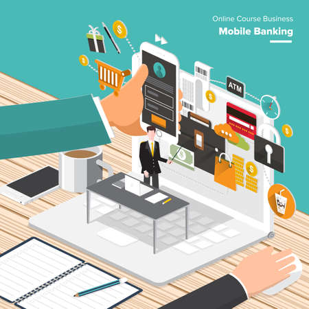 marketing target: Isometric Flat design concepts fo r Content Marketing, Finding Target of Market, Mobile Banking. Concepts for web banners and promotional materials. Stock Photo