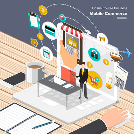 commerce communication: Isometric Flat design concepts for M-Commerce, Strategic Partnership, Co-working Space Center. Concepts for web banners and promotional materials.