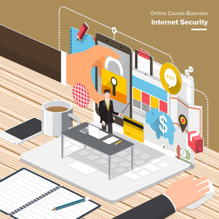 web solution: Isometric Flat design concepts for Internet Security, Mobile Payment, Marketing Solution. Concepts for web banners and promotional materials.