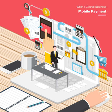 internet marketing: Isometric Flat design concepts for Internet Security, Mobile Payment, Marketing Solution. Concepts for web banners and promotional materials.