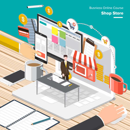 Online Business: Isometric Flat design concepts for Online Business Strategic Plan, Payment Plan, Store Management Concepts for web banners and promotional materials.