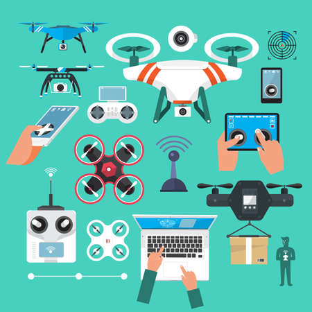 Drones set. Flat design element drone and controller connecting. Illustrate Banco de Imagens - 55782032