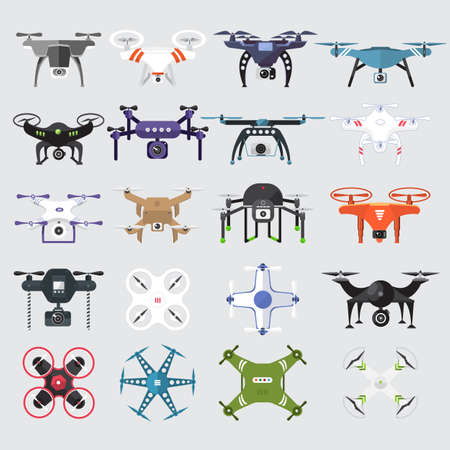 Drones set. Flat design element drone and controller connecting. Illustrate