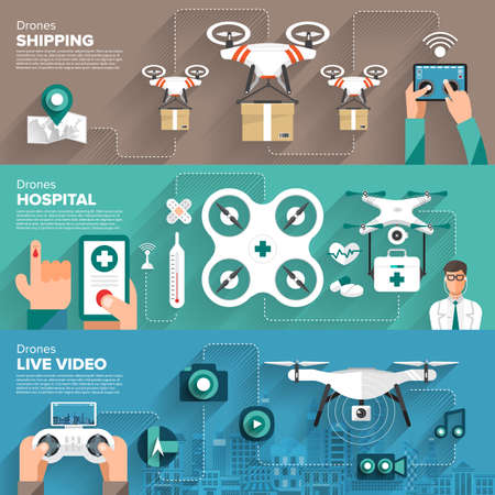 Drones vector set. Flat design element drone and controller connecting to photo, video, hospital and shipping. Illustrate