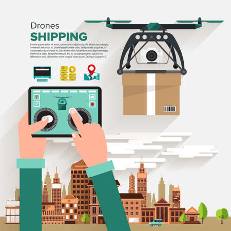 drones: Drones shipping illustrate flat design style