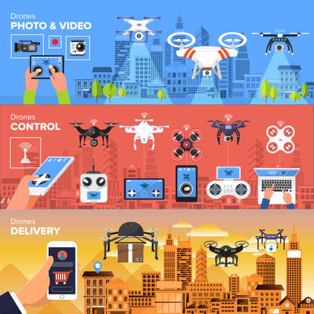 Drones vector set. Flat design element drone and controller connecting. Illustrate Vettoriali