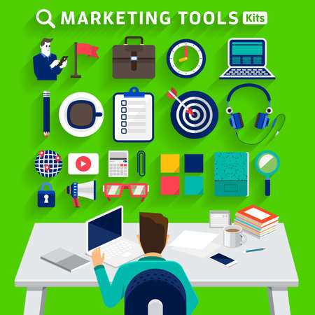design tools: Flat design concept business man working on workspace and show business tools use for success business