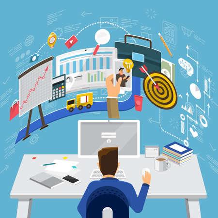 인터넷 보안, 모바일 지불, 마케팅 솔루션에 대한 평면 디자인 개념. 웹 배너 및 판촉 자료에 대 한 개념입니다.
