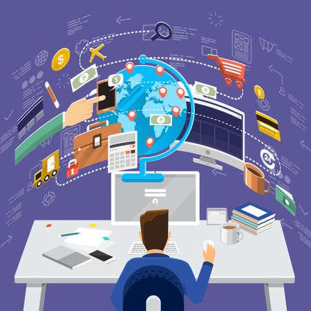 世界経済、金融アドバイザーは、資源管理のための概念をフラットなデザイン。ウェブのバナーや販促のための概念。