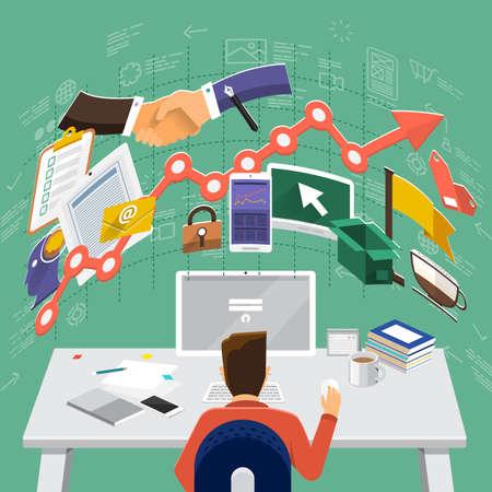 Flache Design-Konzepte für die globale Wirtschaft, Finanzberater, Resource Management. Konzepte für Web-Banner und Werbematerialien. Vektorgrafik