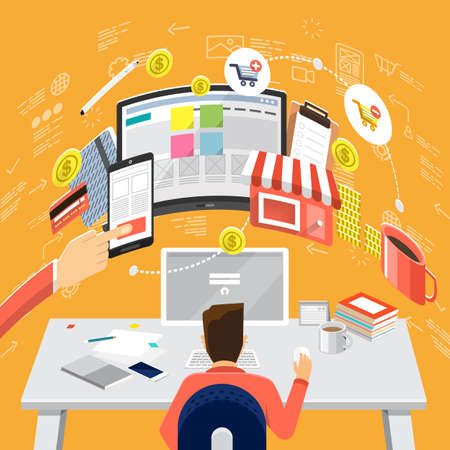 web store: Isometric Flat design concepts for Online Business Strategic Plan, Payment Plan, Store Management Concepts for web banners and promotional materials.