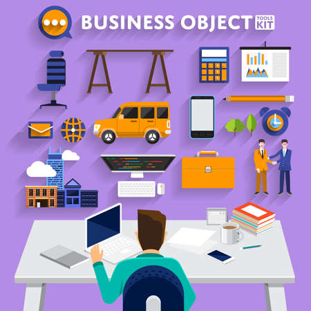 show business: Flat design concept business man working on workspace and show business tools use for success business