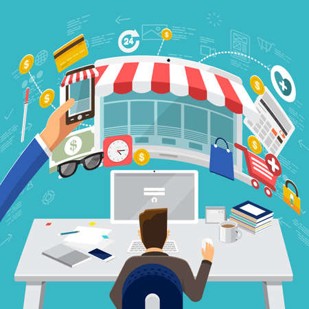internet marketing: Flat design concepts for E-commerce, Crowdfunding Management, Big Idea Concepts for web banners and promotional materials. Illustration