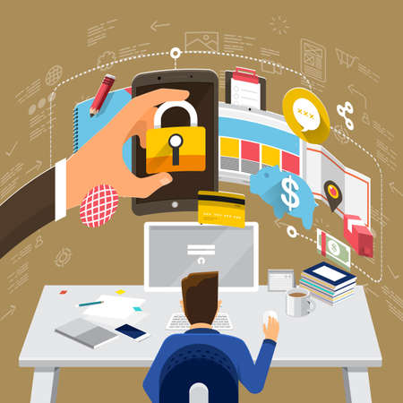web marketing: Flat design concepts for Internet Security, Mobile Payment, Marketing Solution. Concepts for web banners and promotional materials.
