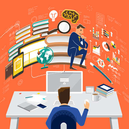 relation: Flat design concepts for Online Advertising, Partnership Relation, Research Knowledge. Concepts for web banners and promotional materials.