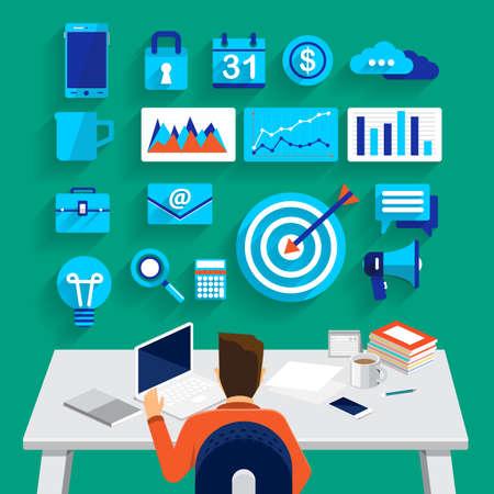 tool: Flaches Design-Konzept Business-Mann arbeitet an Arbeitsplatz und Show-Business-Tools für den Erfolg Geschäft