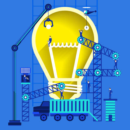 Flat design graphic present creative by lightbulb with build from device. Illustration