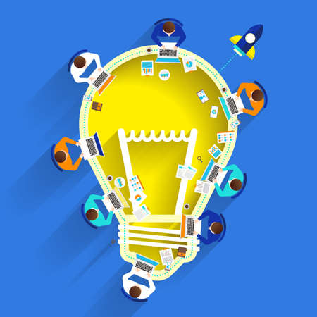 graphic design: Flat design graphic present creative by lightbulb with build from device. Illustration