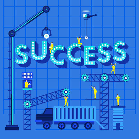 under construction sign with man: Construction site crane building Success text, illustration template design