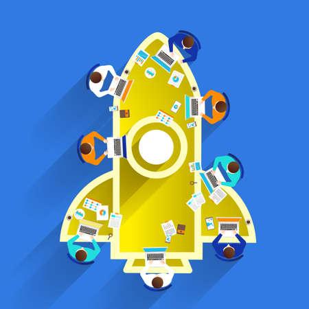Concepto de diseño plano crear o construir negocio de lanzamiento de cohetes con el símbolo.