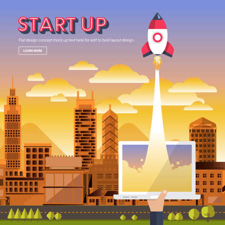 illustrate: illustrate present concept STARTUP with rocket represent success business process. Flat design