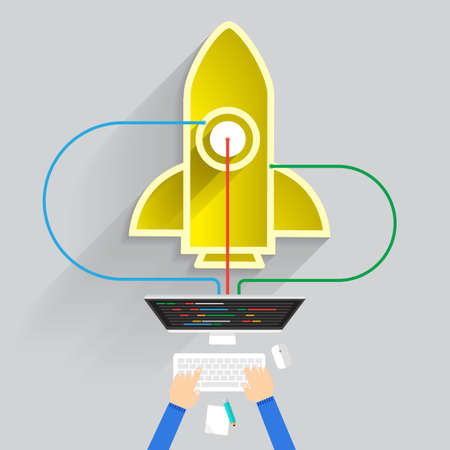 construction projects: Flat design concept create or build startup business with symbol rocket.