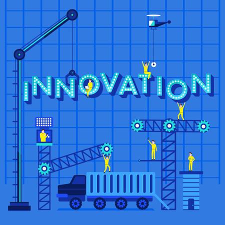 experimentation: Construction site crane building Innovation text, illustration template design